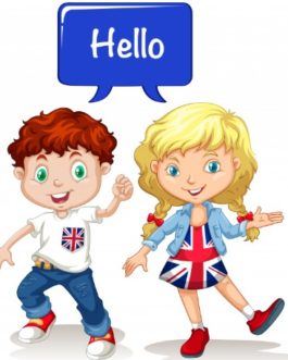 Children group English: Boy and girl saying Hello