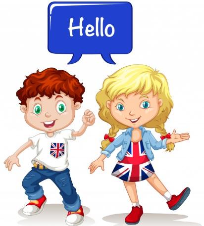 Children group English: Boy and girl saying Hello